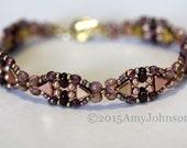 Beadweaving Bracelet, Pink Bracelet,Puca Bead Bracelet,Burgundy Pink Bracelet,Original Moon Gate Pattern,Jewelry, Amy Johnson Designs BX2027