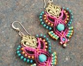 Festive beaded Butterfly earrings/ colourfull earrings/ rainbow earrings/ long earrings