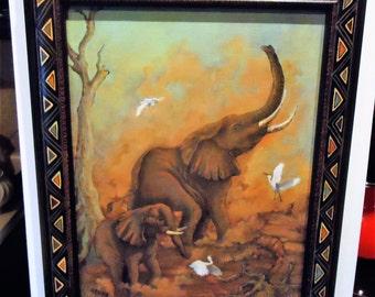 African Elephant Painting Wall Art  Elephant Painting Elephant Portrait Artwork : Morning Dust Bath with Egrets 11x14