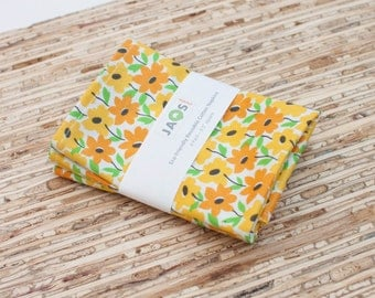 Small Cloth Napkins - Set of 4 - (N4857s) - Tropical Yellow Orange Floral Flowers Modern Reusable Fabric Napkins