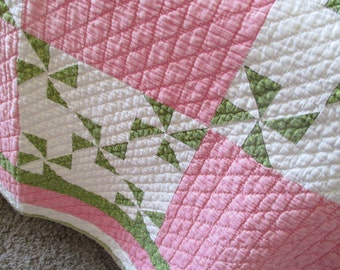 Vintage Hand Quilted Pinwheel Quilt