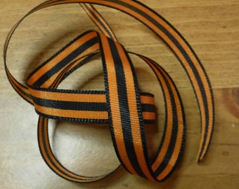 Orange and Black Stripe Ribbon 5 Yards