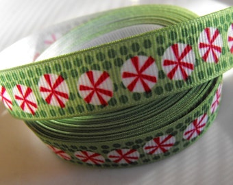 Peppermint Candy Christmas Ribbon 5 Yards