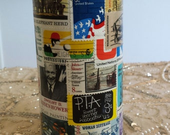 Postage Stamp Decoupage Decorative Upcycled Tea Tin Keepsake Treasure Tin