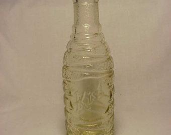 1930 Kist Orange Soda Middlebury, VT. , Fancy Deco Style Clear Glass Soda Fountain Bottle