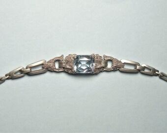 Art Deco Silver Blue Topaz Bracelet (No. 1339)