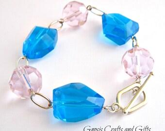 Silver- Large bead bracelet, Pink and blue, Rosary style bracelet, Chunky bead bracelet, Rustic cowgirl, Women's fashion, Bohemian bracelet