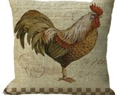 Burlap Country Rooster in Choice of 14x14 16x16 18x18 20x20 22x22 24x24 26x26 inch Pillow Cover