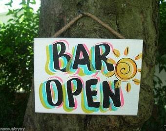 BAR OPEN - Tropical Paradise Beach House Parrothead Pool Patio Tiki Hut Bar Drink Handmade Wood Sign Plaque