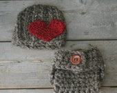 Newborn Knit Heart Hat and Diaper Cover in Barley//Photography Prop/Shower Gift Gender Neutral//Bringing Home Baby