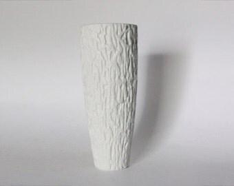 Vintage German White Bisque Op Art Relief Vase - Thomas - 70s