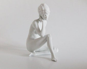 Mid Century White Bisque Original Large Porcelain Figurine Sitting Girl - Wolfgang Gawantka for Kaiser 60s