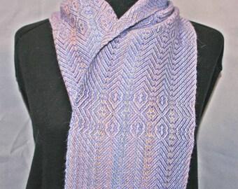 Lavender and peach alpaca-silk scarf, handwoven lavender alpaca scarf