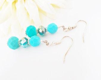 Dark Aqua Crystal Earrings, Turquoise Glass Earrings, Teal Blue Earrings, Bridesmaids Earrings, Aqua Wedding Earrings, Bright Blue Earrings