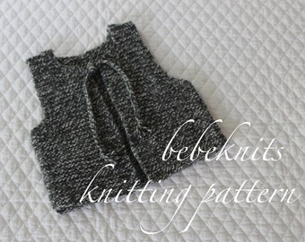 Bebeknits French Style Simple Tie Baby/Toddler Vest Knitting Pattern