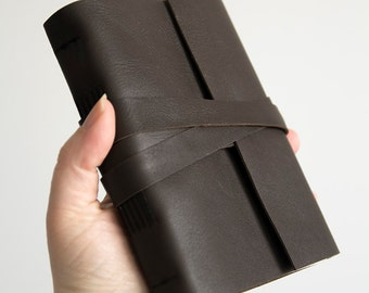 """4x6"""" Lined leather journal, choco leather notebook, travel journal notebook, hand bound leather diary, leather sketchbook, blank book"""