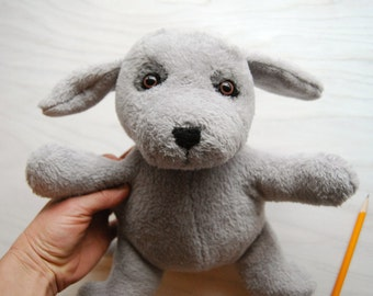 Grey Dog Stuffed Animal Toy - Handmade Plush Dog Stuffy for babies and children of all ages