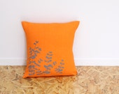 Orange and grey eucalyptus pillow cover