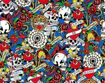 Ed Hardy Love Is True Packed Skulls & Hearts Blue premium cotton fabric from Quilting Treasures - skulls, tattoo, roses