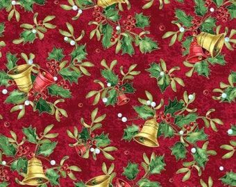 Christmas Bells Tossed Bells and Holly on Red premium cotton fabric by Jennifer Chiaverini for Red Rooster sold per yard