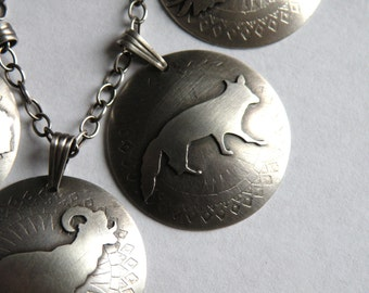 Sterling Fox Totem Necklace - Folklore Series    - Ancient Coins