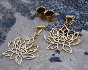 "Lotus Flower Magnetic Clasp Gauged Earrings -  Sizes 2g - 1"""