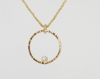14kt yellow gold diamond pendant recycled gold recycled diamond