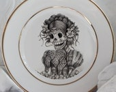Gorgeous Gold Sugar Skull China/Dishes, Foodsafe, PAYMENT PLANS, Sugarskull La Katerina, Day of the Dead Plates, Sugarskull, Dia Muertos