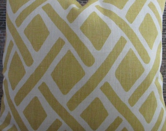 Designer Lumbar Pillow Cover  -  Lumbar, 18 x 18, 20 x 20, 22 x 22 - Lattice Treads Lagoona Yellow