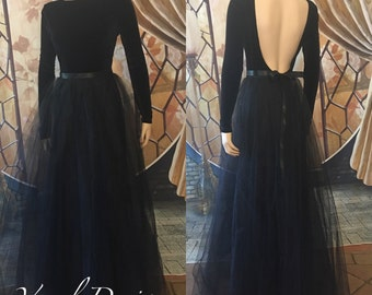 Long elegant couture black dress, high fashion dress, party dress,    edgy evening gown, ball gown, formal wear, prom dress