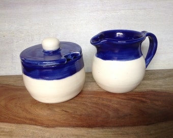 Ceramic Cream & Sugar Set, Handmade Pottery Cream and Sugar Serving Set, Royal Blue and White, Breakfast Serving Set for Coffee or Tea