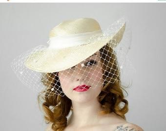 25% OFF SALE / 1980s vintage hat / dramatic tan straw veiled tilt hat / Sonni San Francisco
