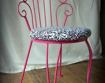 Hot Pink and Black and White Damask Upholstered Vanity Chair