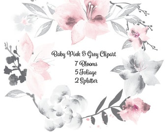 Watercolor Baby Pink & Grey Floral Clip Art High Resolution Graphic Greeting Scrapbooking