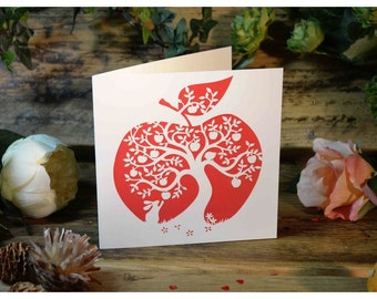 Apple Tree - Large Greeting Card by Paper Panda