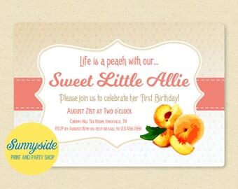 Peach Birthday Invitation, Printable First Birthday Invite - Georgia Peach Peaches Girls Birthday Party