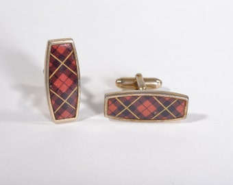 Vintage 1950s Red Tartan Cufflinks - Anson Wallace Wedding - 1960s Scottish Fashions