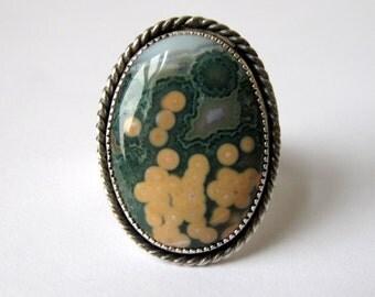 Green Ocean Jasper - 7, Oxidized Sterling Silver Ring