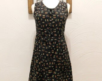 1980s Black Shirtdress Vintage 80s Footprint Shirt Dress - M / L