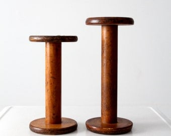 antique wood spools, large wooden spools