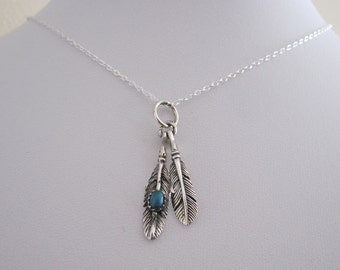 TWO FEATHERS with turquoise sterling silver charm with chain, Tribal native necklace