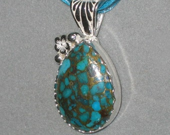 Bronze Infused Turquoise Pendant, Sterling Silver