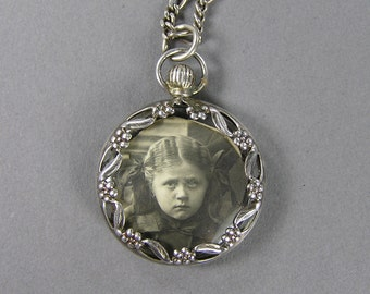 Vintage Photo Pendant, Antique Silver, Double Sided, Sullen Child, Scared Child, Memento, Mourning Jewelry, Edwardian, Victorian