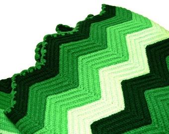 Vintage Chevron Afghan - Wool Lap Throw - Green Striped Blanket