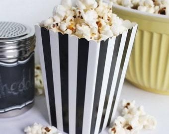 Black Party Favor Boxes, Mini Popcorn Boxes, Wedding Favor Boxes