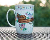 """Anne of Green Gables """"Tomorrow is a new day with no mistakes in it yet"""" Small, white floral mug - L.M. Montgomery Quote - Anne Shirley"""