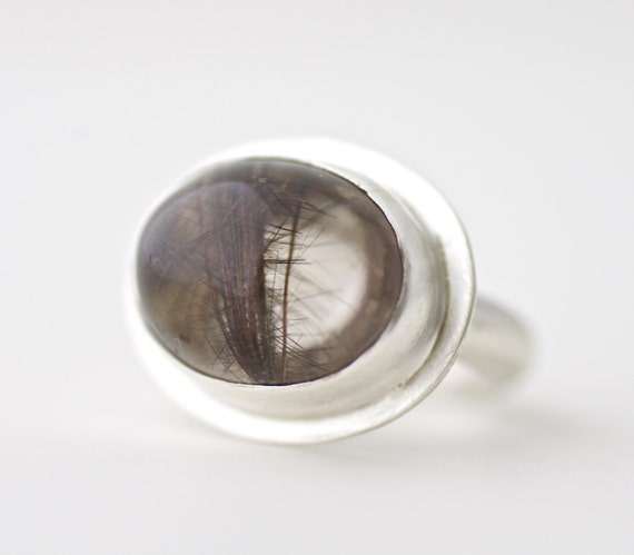 Rutilated Quartz in Matte Sterling Ring