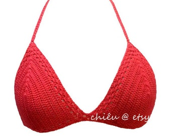 Bikibi top halter triangle molded foam cups bikini top crochet cotton thread - BEST OFFER for SUMMER