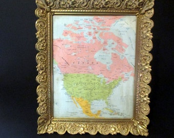Vintage Brass Leaf Whitewashed Picture Frame Hollywood Regency