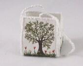 Tree of life Birthday Gift box Spring garden garden lover wedding favour box silk purse tulip flower floral embroidery trinket box